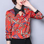 Mujer Estampado - Algodón Camisa, Cuello Camisero Un Color / Floral Manga Farol