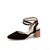 Mujer Zapatos Cuero Sintético Primavera verano Tira en el Tobillo Sandalias Tacón Cuadrado Dedo Puntiagudo Rojo / Verde / Azul
