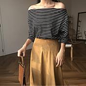 Mujer Camiseta, Escote Barco A Rayas