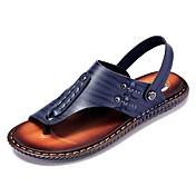 Hombre Cuero de Napa Verano Confort Sandalias Azul Oscuro / Amarillo / Morrón Oscuro