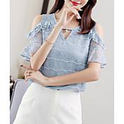 Mujer Básico Encaje - Algodón Blusa Un Color / Verano