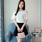 blusa de algodón para mujer - cuello redondo de color sólido