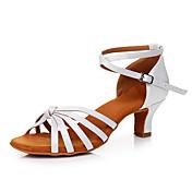 Mujer Zapatos de Baile Latino Satén Zapatilla Tacón Cubano Personalizables Zapatos de baile Blanco