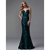 Trompeta / Sirena Tirantes Spaghetti Larga Lentejuelas Brillos Y Estrellas Evento Formal Vestido con Lentejuela por TS Couture®