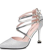 Feminino Sapatos Camurça Outono Conforto Saltos Salto Agulha Dedo Apontado Presilha Para Social Dourado Preto Prateado Vermelho