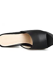Damer Sko Nubuck Læder PU Sommer Komfort Sandaler Til Afslappet Hvid Sort