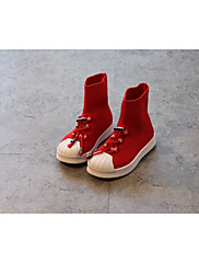 Para Meninas sapatos Couro Ecológico Outono Inverno Conforto Tênis Para Casual Preto Vermelho
