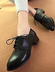 Feminino Sapatos Pele Real Couro Ecológico Primavera Outono Mocassim Saltos Salto Grosso Para Casual Preto Vinho