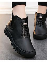 Feminino Sapatos Pele Napa Pele Primavera Conforto Botas Para Casual Preto Marron