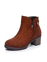 Feminino Sapatos Flocagem Inverno Forro de peles Botas Salto Grosso Ponta Redonda Botas Curtas / Ankle Ziper Botão Para Casual Preto