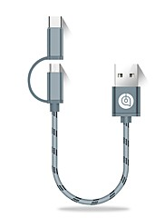 USB 2.0 Cabo, USB 2.0 to USB 2.0 Tipo C Micro USB 2.0 Cabo Macho-Macho 0.25m (0.8Ft)