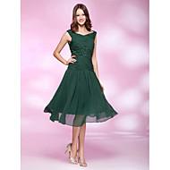Vestido de festa de chiffon em forma de v-pescoço com comprimento de joelho com beading by ts couture®