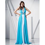 Tube / kolonne V-hals Børsteslæb Chiffon Formel aften / Militærbal Kjole med Krystaldetaljering ved TS Couture®