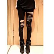 Dame Hullet Legging - Udhulet, Ensfarvet Medium Talje
