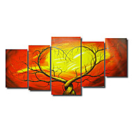 voordelige Artist - Chen-Handgeschilderde Abstract elke vorm Kangas Hang-geschilderd olieverfschilderij Huisdecoratie Vijf panelen