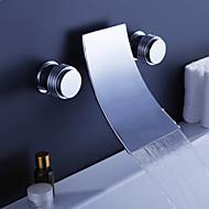Современный На стену Водопад with  Керамический клапан Три отверстия Две ручки три отверстия for  Хром , Смеситель для ванны