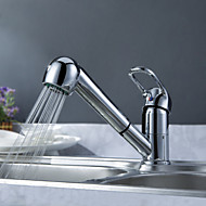 cheap Sprinkle® Faucets-Transitional  with  Chrome Single Handle One Hole  for Centerset Pull out