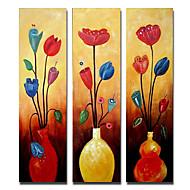Pictat manual Floral/Botanic Trei Panouri Canava Hang-pictate pictură în ulei For Pagina de decorare