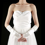 cheap Wedding Gloves-Satin Elbow Length Glove Bridal Gloves With Appliques Ruffles