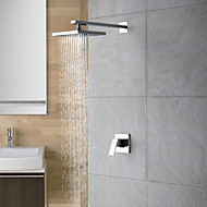 Contemporary Shower Only Rain Shower Ceramic Valve Two Holes Single Handle Two Holes Chrome , Shower Faucet