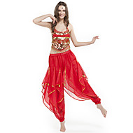 cheap Sale-Belly Dance Outfits Women's Performance Chiffon Beading Coin Sleeveless Natural