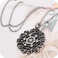 Damen Synthetischer Diamant Pendant Halskette Lange Halskette Blumen / Botanik damas Freizeit Modisch Schwarz Silber Modische Halsketten Schmuck Für Alltag
