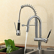 cheap Kitchen Faucets-Contemporary Pull-out/­Pull-down Deck Mounted Pre Rinse Pullout Spray Ceramic Valve One Hole Single Handle One Hole Chrome, Kitchen faucet