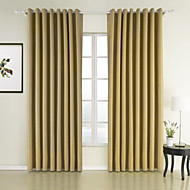 Rod Pocket Grommet Top Tab Top Double Pleated Two Panels Curtain Neoclassical , Solid Bedroom 100% Polyester Polyester Material Curtains