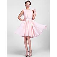 Γραμμή Α / Πριγκίπισσα Με Κόσμημα Μέχρι το γόνατο Σιφόν Κοκτέιλ Πάρτι Φόρεμα με Χάντρες / Που καλύπτει με TS Couture®
