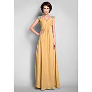 A-Line V Neck Floor Length Chiffon Mother of the Bride Dress with Beading / Draping / Criss Cross by LAN TING BRIDE®