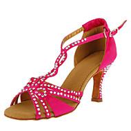 Yapay elmas ile Özel Kadın Saten Dans Ayakkabıları (Daha fazla renk)