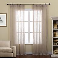 billige Gjennomsiktige gardiner-To paneler Window Treatment Rustikk / Moderne / Neoklassisk / Rokoko / Europeisk / Designer , Solid Stue Lin/ Polyester Blanding Materiale