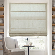 cheap Blinds & Shades-Classic Cotton Linen Solid Roman Shade