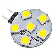 baratos Luzes LED de Dois Pinos-SENCART 1W 6500lm G4 Luminárias de LED  Duplo-Pin 6 Contas LED SMD 5050 Branco Natural 12V