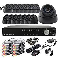 Ultra-DIY 16CH D1 Echtzeit H.264 CCTV DVR Kit (16pcs 420TVL Nachtsicht CMOS-Dome-Kameras)