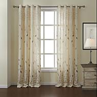 billige Gardiner-To paneler Window Treatment Moderne , Blad Stue Lin/ Polyester Blanding Materiale gardiner gardiner Hjem Dekor For Vindu