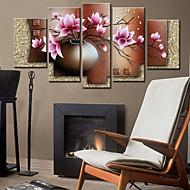 billige Veggklokker-landstil lotus veggur i canvas 5pcs