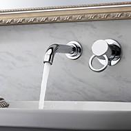 Moderna Montagem de Parede Rotativo Válvula Cerâmica Duas Aberturas Monocomando Dois Buracos Cromado, Torneira pia do banheiro