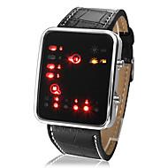 저렴한 -남성용 디지털 손목 시계 달력 LED PU 밴드 캐쥬얼 멋진 블랙