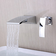 cheap Bathtub Faucets-Bathtub Faucet - Contemporary Chrome Wall Mounted Ceramic Valve