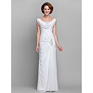 זול -מעטפת \ עמוד צוואר בדוגמת דרפה עד הריצפה שיפון שמלה לאם הכלה  עם חרוזים / כפתורים / פרטים מקריסטל על ידי LAN TING BRIDE®