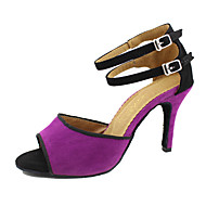 baratos Sapatilhas de Dança-Mulheres Sapatos de Dança Latina / Dança de Salão Flocagem Salto Salto Personalizado Personalizável Sapatos de Dança Púrpura