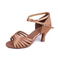 baratos Sapatilhas de Dança-Mulheres Sapatos de Dança Latina / Dança de Salão Cetim Salto Salto Personalizado Personalizável Sapatos de Dança Amêndoa / Preto / Marrom