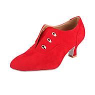 Dame Moderne Ballett Semsket lær Høye hæler Snøring Utsvingende hæl Brun Rød Svart Rød Brun 5,5 cm Kan ikke spesialtilpasses
