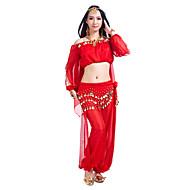 Trbušni ples Outfits Žene Trening Šifon Šljokice Dugih rukava Top Hlače Trbušni ples Hip Šal
