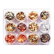 12PCS mixt de culoare folie de Nail Art Decoration de aur argint folie de colorat