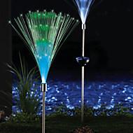 2 güneş fiber optik renk değiştiren bahçe kazık ışık paketi