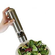 ferramenta de cozinha elétrica de aço inoxidável moedor de pimenta cilíndrica de sal