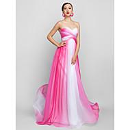 Linha A Decote Princesa Longo Chiffon Baile de Fim de Ano Evento Formal Baile Militar Vestido com Cruzado Franzido de TS Couture®