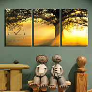 Modern Style High Class Sunset Clock in Canvas 3pcs